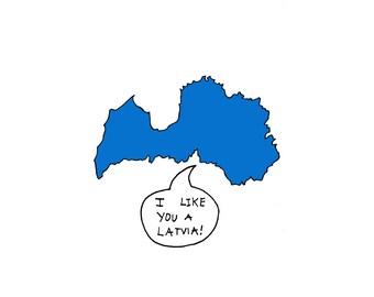 I Like You A Latvia Greeting Card