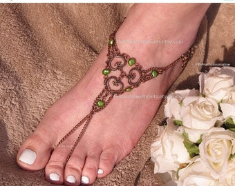 2pc Copper jewelry foot jewelry barefoot sandal wedding foot jewelry, beach wedding barefoot sandals, barefoot jewelry, foot accessories
