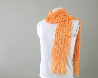 Handknit Orange Lace Scarf with Fringe