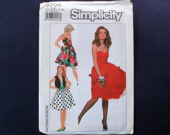 1990 Dress Strapless or Straps with Tulle Overskirt & Vest Uncut Vintage Pattern, Simplicity 9706, Size 4, 6, 8, 10, 12, Bust 29, 30, 31, 32