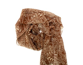 Lightweight Scarf Brown and Cream Chiffon Scarf Head Scarf Scarves for Women Spring and Summer Scarves Fashion Headscarves by Forever Andrea