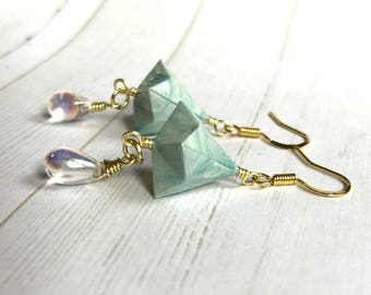 Origami Bell Earrings // Marbled Raindrops