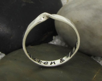 Sterling Silver Mobius Stacking Name Ring - Mobius Ring Infinity Ring Mothers Day Gift - Minimalist Ring Eternity Band
