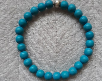 Turquoise Beaded Stretch Bracelet with Sterling Silver Accent Bead