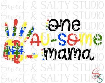 one au-some mama hand print digital file