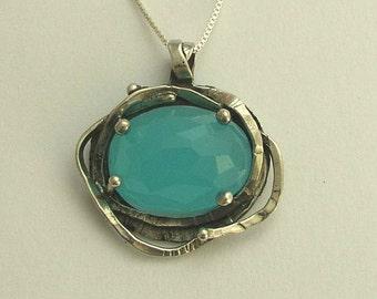 Ocean quartz Pendant, organic necklace, gypsy pendant, organic pendant, hippie, Bohemian necklace, Silver pendant - The Seven Seas N8915