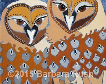 Barred Owls, Original Owl Painting, Owl Couple Painting, Owl Painting, Navy and Brown Owl Painting