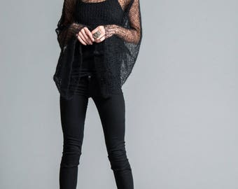 Hand Knit Top / Stylish Cropped Blouse / Black Sweater / Long Sleeve Top / Short Cover Up / Sheer Sweater / Marcellamoda - MC0423