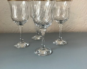 Vintage Gold-Rimmed Wine Glasses-Set of 4