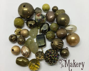Olive green bead mix, 30 beads, resin, metal, plastic, wooden, stone