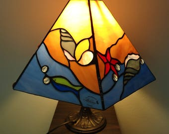 Beach Lamp, Tiffany Style Lamp, Stained Glass Lamp, Sea Shell Ornaments, Waves Ornaments, Summer Ornaments, Fish and Sea