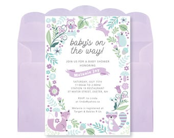 Baby Girl Shower Invitation, Printable, Customized - woodland theme, purple woodland animals