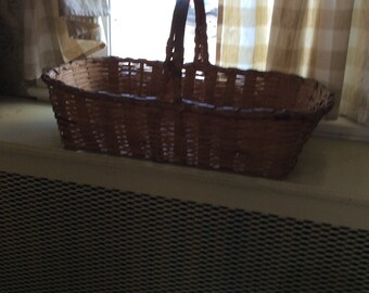 Vintage splint weave gathering basket