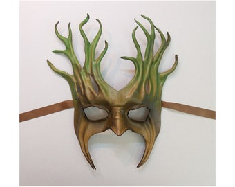 "Tree Leather Mask  greenman greenwoman forest woods festival Midsummer costume about 10"" tall very lightweight easy to wear"