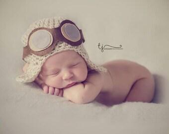 Baby aviator hat with goggles, aviator beanie , baby pilot hat , baby flying hat, newborn aviator hat, crochet baby pilot hat, UK seller