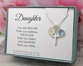 Easter gift for goddaughter gift necklace sterling silver easter gift for daughter jewelry sterling silver initial personalized birthstone necklace daughter birthday graduation baptism gift negle Gallery