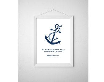 Printable Anchor Bible Verse Wall Art, Nautical Hebrews 6:19 Printable Wall  Art