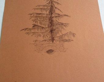 vintage original pen drawing, tree made in Greece