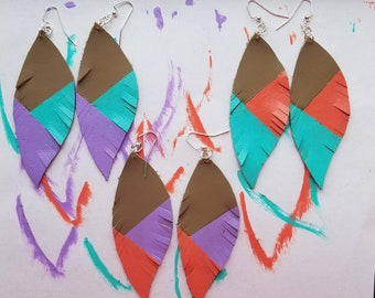 Painted leather feather earrings