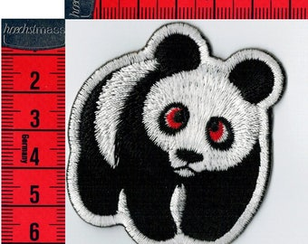 Embroidered iron or sew Panda badge.  Patch applique