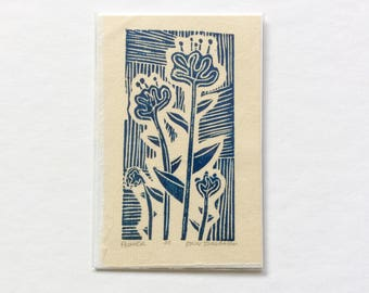 mini linocut - FLOWERS // blue // printmaking // block print // nature art // original // small // miniature // wildflowers // colorful