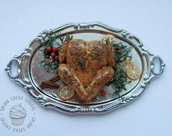 Dollhouse Miniature Roast Turkey on Silver Serving Tray