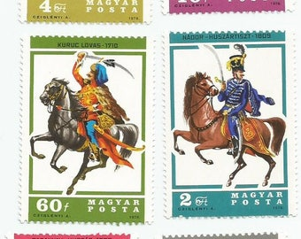 6 Men on Horses Mint Postage Stamps from Hungary