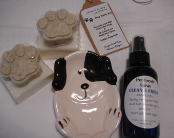 Cedar Mint Goat's Milk Dog Soap, Fresh Pet Spray, and Puppy Soap Dish, Set FREE SHIPPING!