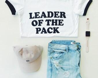 Women's LEADER of the PACK - White & Black Ringer Tee