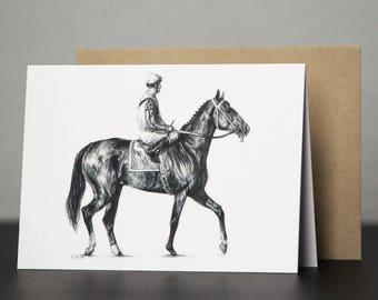 Thoroughbred Racehorse (Rachel Alexandra portrait) Blank Greeting Card