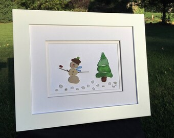 Authentic Sea Glass Snowman with Cardinal