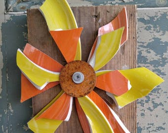 Lil broken and beautiful wall hanging flower in Orange and yellow