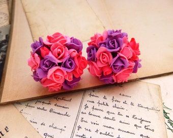 Cute earrings Pink earrings Violet earrings Stud Earrings Rose earrings Flowers earrings Floral earrings Roses Jewelry Colorful Earrings