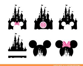 Disney Castle monogram SVG , Mickey Mouse, minnie svg , Magic Kingdom, Disneyland, Silhouette, Clipart, Transfer, Cut Files, DXF, Cameo,