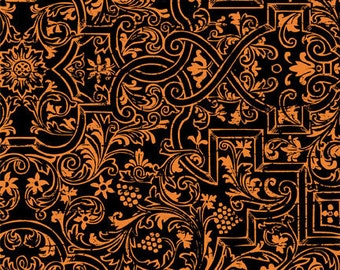 Something Wicked Black/Orange Brocade by Stephanie Marrott for Wilmington, 1/2 yard
