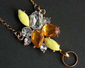 Yellow Lanyard. Amber Crystal Badge Lanyard. Rhinestone Lanyard. Badge Necklace. Gold Lanyard. Crystal Lanyard Necklace. ID Badge Holder.