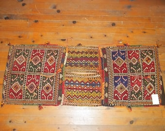 Etsy's 13th Birthday Sales Saddle Bag, Kilim Saddlebag, Turkish Nomadic Saddlebag,Home decor,Heybe 1,43*0,57 cm