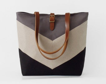 Linen chevron, Black and gray tote / diaper bag / shoulder bag, leather handles,  9 inside pockets. Waterproof poly lining available