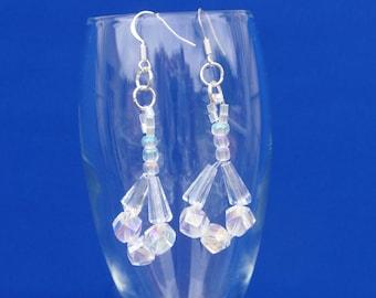 Bridal Crystal Drop Earrings, Wedding Drop Earrings, Bridal Sparkly Earrings, Dressy Drop Earrings, Swarovski Earrings, AB Beads, Handmade
