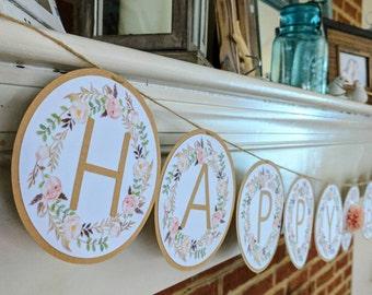 FLORAL PARTY DECOR | Bridal Shower, Baby Shower, Floral Banner, First Birthday, Summer Mantle, Birthday Banner, Floral Wreath, Garden Party