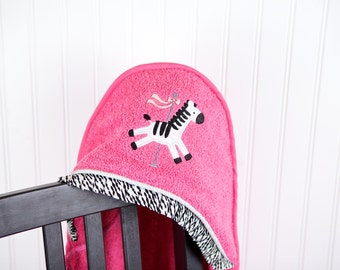zebra carousel hooded girls towel many colors