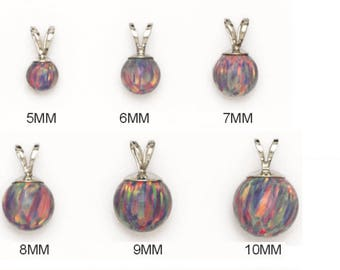 14K Pure Solid White Gold Pendant With PURPLE\MULTI COLOR Synthetic Opal . 5mm. 6mm. 7mm. 8mm. 9mm. 10mm. . Gifts. RPW155P219