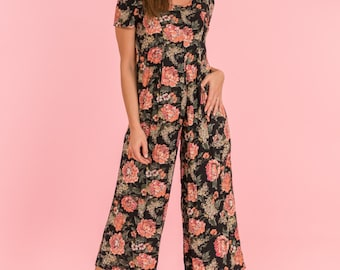 Vintage Black And Pink Floral Gaucho Romper (Size Medium)
