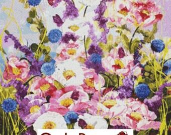 Modern Cross Stitch Kit, Butterflies and Peonies, Counted Cross Stitch Kit, Trees , Floral Cross Stitch, Rozanne Bell Art,