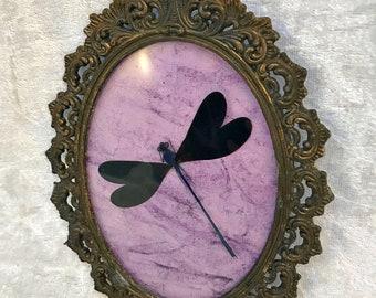 Violet Damselfly Antique Frame