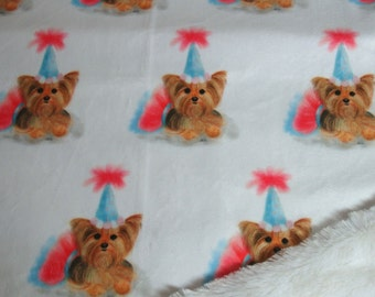 Yorkie Birthday Blanket - Minky Blanket - Yorkie Birthday Hat  Blanket - with or without ruffle