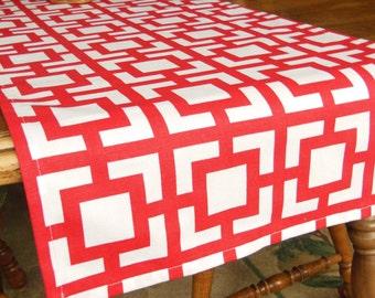 Red Table Runner Red White Geometric Buffett Runner Holiday Table Topper Bridal Shower Table Runner Home Gift Idea Christmas Table Runner