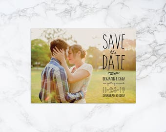 Printable Save the Date Photo Card with Text Overlay Announcement