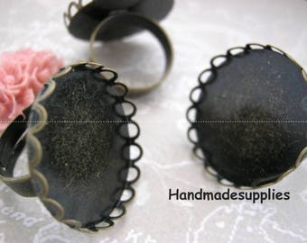 10 x Adjustable ring 25mm, lace, copper (522825)