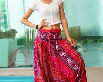 Harem Pants Thai Pants, Rayon Pants, Boho Strenchy Pants, Elastic Waist Clothing Beach Women Baggy Casual Dashiki Print Pink color  DK70159